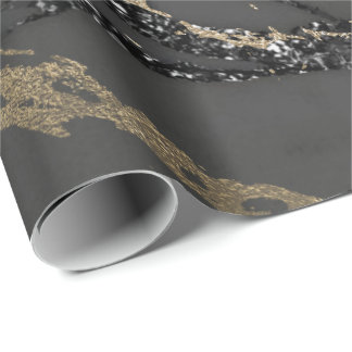 Black Graphite Deluxe Gold Marble Glitter Glam Wrapping Paper