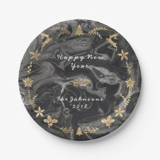 Black Graphite Marble Gold Gray Christmas Paper Plate