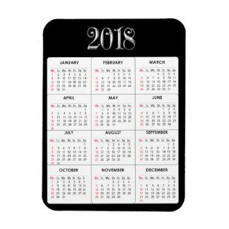 Black Gray  2018 Calendar Refrigerator Magnet