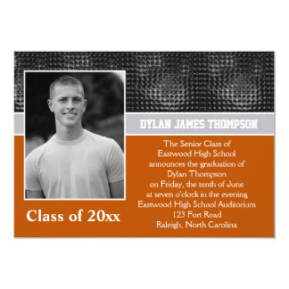 Black, Gray, and Orange Photo Graduation Invite