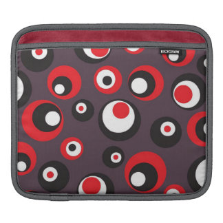Black Gray and Red Dotted Abstract iPad Case