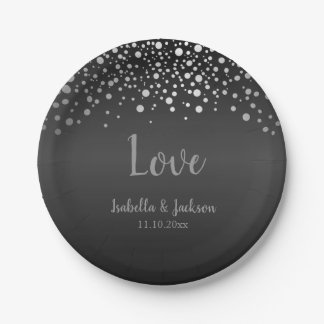 Black Gray and Silver Confetti Dots Paper Plate