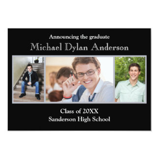 Black/Gray Background - Graduation Party Card