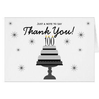 Black Gray Cake 100th Birthday Thank You NoteCard