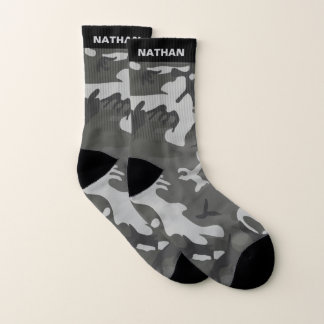 Black Gray Camouflage Personalized Name 1