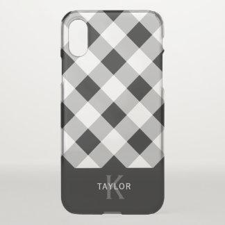 Black & Gray Check - Monogram iPhone X Case