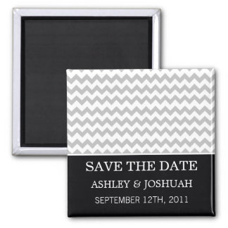 Black & Gray Chevron Save The Date Magnets
