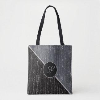 Black & Gray Color Block Monogram Wedding Tote Bag