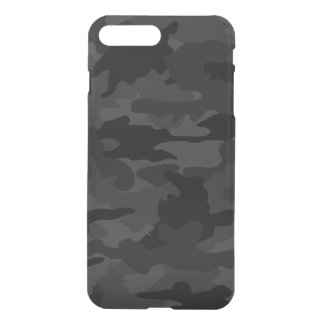 Black & Gray Cool Camo Camouflage Pattern Clearly iPhone 7 Plus Case