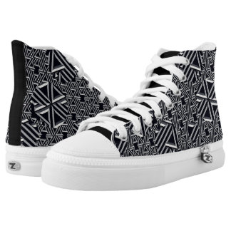 Black/Gray/Cream Abstract High Top Sneakers