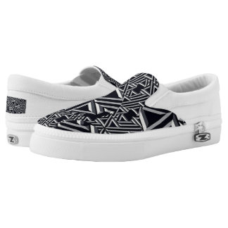 Black/Gray/Cream Abstract Slip On Sneakers