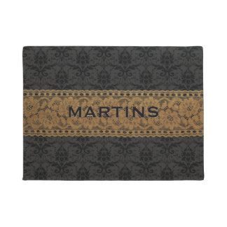 Black Gray Damask Gold Floral Lace Family Name Doormat