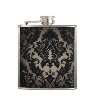 Black & Gray Damask Pattern Print Hip Flask