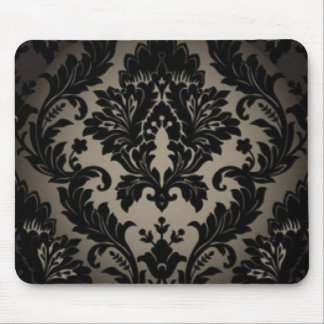 Black & Gray Damask Pattern Print Mouse Pad