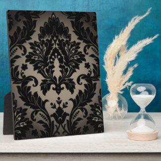 Black & Gray Damask Pattern Print Plaque
