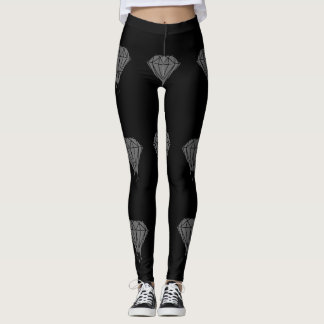 Black & Gray Diamond Leggings