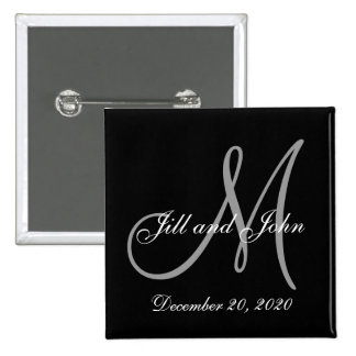 Black Gray Elegant Monogram Save the Date 2 Inch Square Button