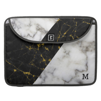 Black & Gray Faux Marble Modern Geometric Design Sleeve For MacBook Pro