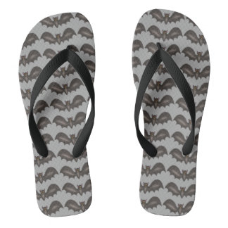 Black Gray Flying Bat Bats Halloween Animal Print Flip Flops