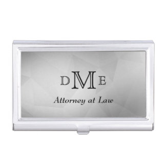 Black Gray Geometric Triple Monogram Professional Business Card Holder