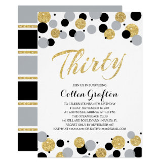 Black Gray Gold Glitter Confetti 30th Birthday Card