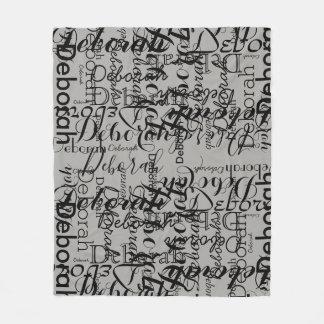 black gray handwritten fonts name pattern fleece blanket
