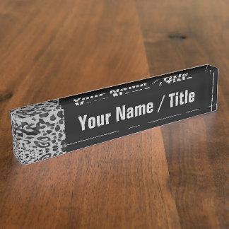 """Black & Gray Leopard"" Nameplate"
