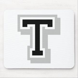 black gray letter T Mouse Pad
