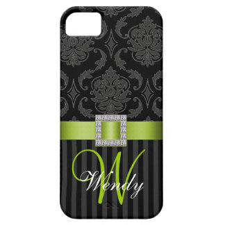 Black Gray Lime Geen Damask Stripes iPhone 5 Case