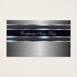 Black & Gray Metallic Design Brushed Aluminum Look Business Card