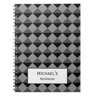 Black Gray Modern Trendy Diamond Triangle Pattern Spiral Notebook
