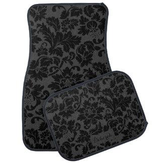 Black & Gray Monochromatic Floral Pattern Floor Mat