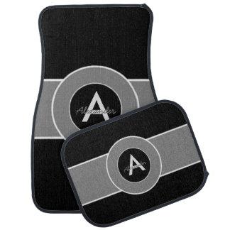 Black Gray Monogram Personalized Floor Mat