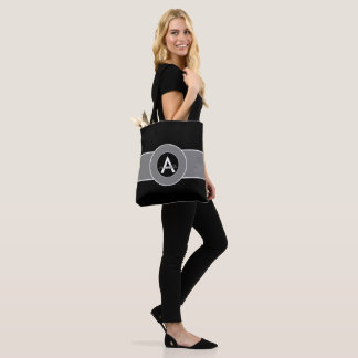 Black Gray Monogram Personalized Tote Bag