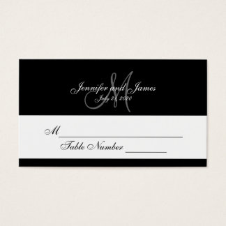 Black Gray Monogram Wedding Place Cards