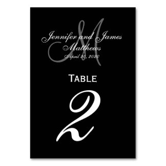 Black Gray Monogram Wedding Table Number Card Table Cards