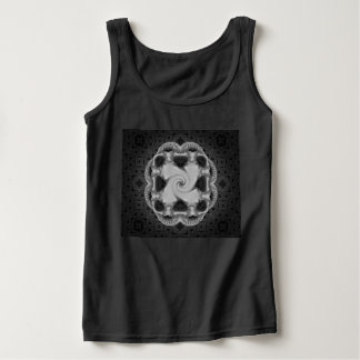 Black & Gray Octoskull Swirl Design Tank Top