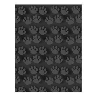 Black Gray Paw Prints Pattern Postcard