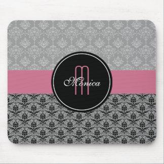 Black Gray Pink Vintage Floral Damasks Monogrammed Mouse Pad