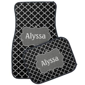 Black Gray Quatrefoil Personalized Car Floor Carpet