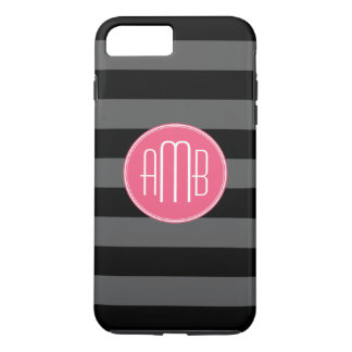 Black & Gray Rugby Stripes with Hot Pink Monogram iPhone 8 Plus/7 Plus Case