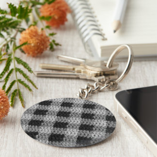 Black Gray Shades Business Plaid Crochet Print on Keychain