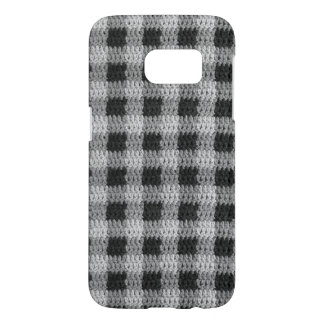 Black Gray Shades Gingham Plaid Pattern Crochet Samsung Galaxy S7 Case