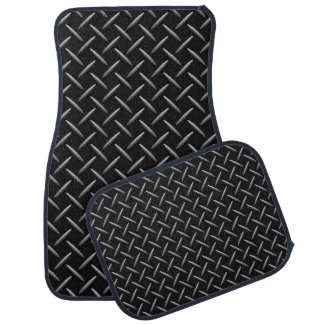 Black/Gray Simulated Diamond Plate Pattern Floor Mat