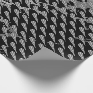 Black Gray Stone Marble Silver VIP Rose Spikes Wrapping Paper