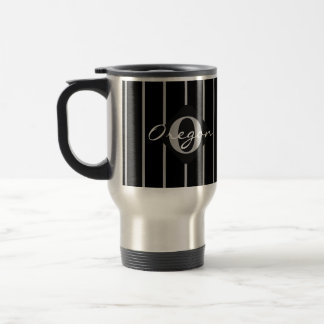 Black & Gray Stripes Travel Coffee Mug-Oregon Travel Mug