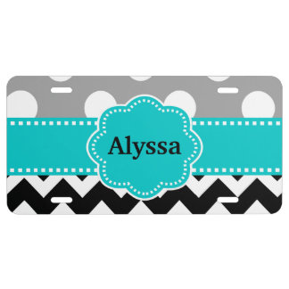 Black Gray Teal Dots Chevron Personalized License Plate