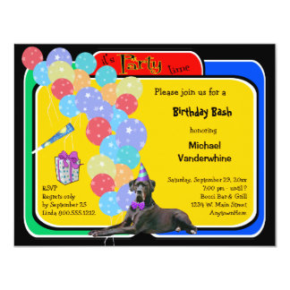"Black Great Dane Birthday Barker 4.25"" X 5.5"" Invitation Card"