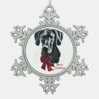 Black Great Dane Christmas Snowflake Pewter Christmas Ornament