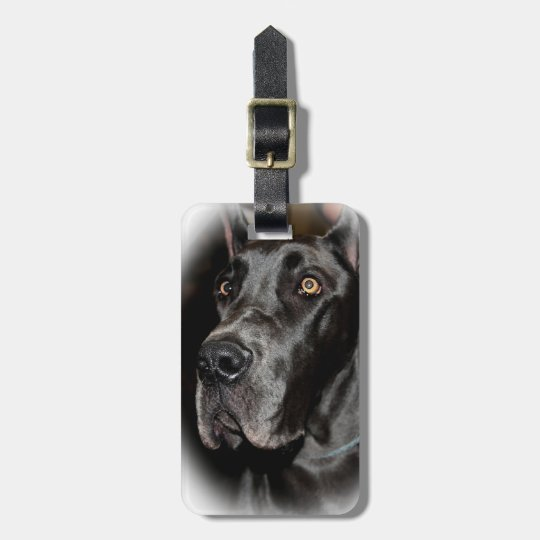 BLACK GREAT DANE LUGGAGE TAG